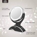 Miroir Lumineux Grossissant 7x Anjou, Miroir Maquillage Portable, Double Face, Rotation 360°, Aspect Vintage Argent/Noir, Amovible et Alimenté par 3x Piles AA Gratuites de la marque Anjou image 4 produit