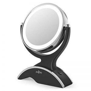 Miroir Lumineux Grossissant 7x Anjou, Miroir Maquillage Portable, Double Face, Rotation 360°, Aspect Vintage Argent/Noir, Amovible et Alimenté par 3x Piles AA Gratuites de la marque Anjou image 0 produit