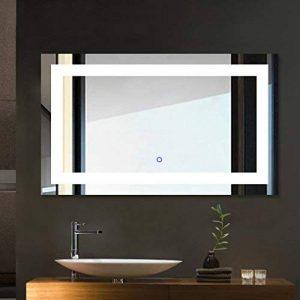 Miroir Salle de Bains avec éclairage Tonffi 25W HD Image étanche Miroir LED Éclairage Intégré Miroirs Cosmétiques Muraux Lumière Blanche étanche (100*60cm) de la marque Tonffi image 0 produit