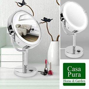 Miroir sur pied casa pura® avec LED | Rotation 360° | 3 degrés de grossissement - 7x de la marque casa pura image 0 produit