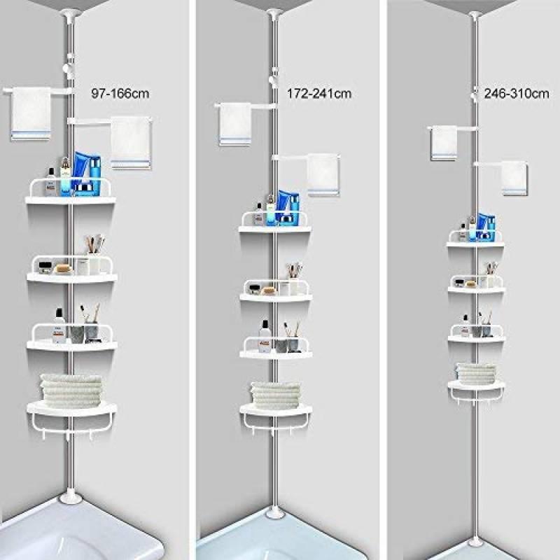 ce9b82dbe31883 Aerobath à 4 étages étagère réglable Organiseur de salle de bain étagère  d'angle de douche Caddy Nail-free robuste en acier inoxydable antirouille  (120 ...