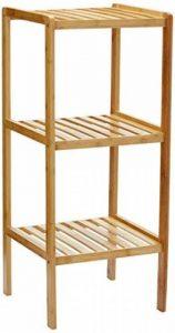 Relaxdays 10013496 Étagère en bambou pour salle de bain Rangement HxlxP : 79 x 33 x 33 cm meuble colonne sur pied 3 niveaux en bois naturel pour la cuisine 3 niveaux couloir cave jardin, nature de la marque Relaxdays image 0 produit