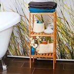 Relaxdays 10013496 Étagère en bambou pour salle de bain Rangement HxlxP : 79 x 33 x 33 cm meuble colonne sur pied 3 niveaux en bois naturel pour la cuisine 3 niveaux couloir cave jardin, nature de la marque Relaxdays image 2 produit