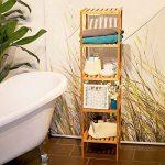 Relaxdays 10016109 Étagère de salle de bain avec 5 niveaux HxlxP: 140 x 34 x 34 cm en bois naturel en Bambou Rangement sur pieds pour la salle de bain et cuisine cave garage espace, nature de la marque Relaxdays image 1 produit