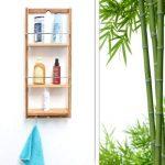 Relaxdays 10017163 Étagère de salle de bain en Bambou 3 étages panier Mural HxlxP : 70 x 28,5 x 10 cm serviteur de douche à suspendre crochet porte-serviettes torchons étagère de cuisine en bois, nature de la marque Relaxdays image 1 produit