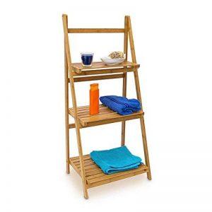 Relaxdays 10018983 Étagère echelle escalier en Bambou 3 Étages Pliable Salle de Bain Salon Rangement Bois HxlxP 100 x 45 x 33 cm, Nature de la marque Relaxdays image 0 produit