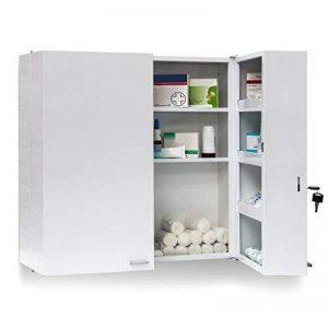 Relaxdays 10019095 Armoire à Pharmacie Acier XXL Toilette médicaments Salle de Bain 2 Portes clés 11 étagères de Rangement H x l x P: 53 x 53 x 20 cm, Blanc de la marque Relaxdays image 0 produit