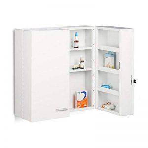 Relaxdays Armoire à Pharmacie XXL en métal Acier 2 Portes fermables Blanc 11 Compartiments HxlxP: 53 x 53 x 20 cm, Blanc de la marque Relaxdays image 0 produit