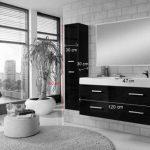 SAM Ensemble pour salles de bains Hamburg de 3 unités, large 120 cm, gris brillant, meuble avec fonction Soft close, double lavabo en fonte minérale, miroir et meuble suspendu de la marque SAM image 4 produit