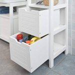 SoBuy FRG126-W Meuble Colonne de Salle de Bain Armoire Toilette Haute – 4 étagères 2 tiroirs- Blanc de la marque SoBuy image 4 produit