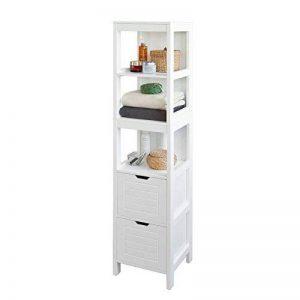 SoBuy FRG126-W Meuble Colonne de Salle de Bain Armoire Toilette Haute – 4 étagères 2 tiroirs- Blanc de la marque image 0 produit