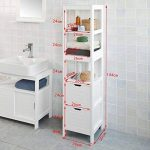 SoBuy FRG126-W Meuble Colonne de Salle de Bain Armoire Toilette Haute – 4 étagères 2 tiroirs- Blanc de la marque image 2 produit