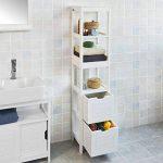 SoBuy FRG126-W Meuble Colonne de Salle de Bain Armoire Toilette Haute – 4 étagères 2 tiroirs- Blanc de la marque SoBuy image 1 produit