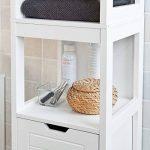 SoBuy FRG126-W Meuble Colonne de Salle de Bain Armoire Toilette Haute – 4 étagères 2 tiroirs- Blanc de la marque SoBuy image 3 produit