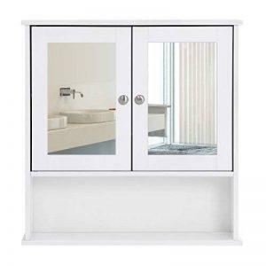 Songmics Armoire de toilettes Salle de bains Blanche murale avec portes et miroirs LHC002 de la marque SONGMICS image 0 produit