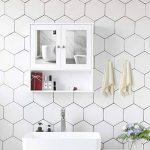 Songmics Armoire de toilettes Salle de bains Blanche murale avec portes et miroirs LHC002 de la marque SONGMICS image 3 produit