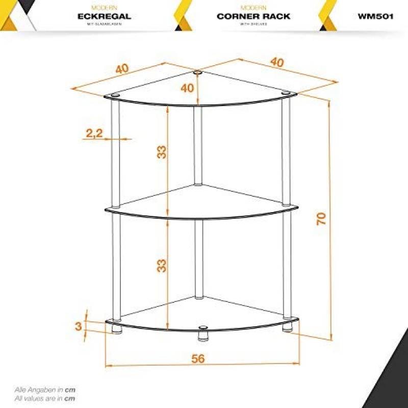 ... Verre De Sécurité Noir Table Basse Du0027appoint Desserte Accessoire  Toilette Pour Salon 3 Niveaux Sur Pied Etagères Modulaires Et Noires De La  Marque RICOO