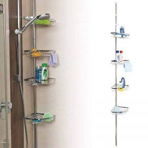 Étagère d'angle télescopique en inox de qualité supérieure, mât télescopique pouvant atteindre jusqu'à max. env. 290 cm de la marque bremermann® image 0 produit