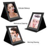TASIPA Miroir de Maquillage Pliable en Cuir PU, Miroir de Voyage portatif, miroirs de Toilette Pied (M) de la marque TASIPA image 3 produit