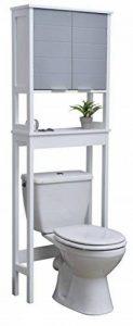 TENDANCE Meuble Dessus Toilettes WC - 1 Rangement 2 Portes 1 Tablette - Coloris Blanc Gris de la marque TENDANCE image 0 produit