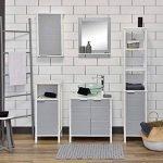 TENDANCE Meuble Dessus Toilettes WC - 1 Rangement 2 Portes 1 Tablette - Coloris Blanc Gris de la marque TENDANCE image 3 produit