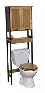 TENDANCE Meuble Dessus Toilettes WC - 2 Portes 1 Tablette - Style Vintage - en Bambou - Coloris Noir Bois de la marque TENDANCE image 0 produit