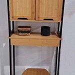 TENDANCE Meuble Dessus Toilettes WC - 2 Portes 1 Tablette - Style Vintage - en Bambou - Coloris Noir Bois de la marque TENDANCE image 1 produit