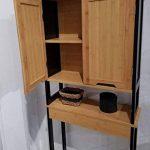 TENDANCE Meuble Dessus Toilettes WC - 2 Portes 1 Tablette - Style Vintage - en Bambou - Coloris Noir Bois de la marque TENDANCE image 3 produit
