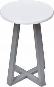 TENDANCE Tabouret de Salle de Bain - Pieds en Bambou - Coloris Blanc Gris de la marque TENDANCE image 0 produit