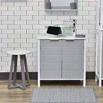TENDANCE Tabouret de Salle de Bain - Pieds en Bambou - Coloris Blanc Gris de la marque TENDANCE image 2 produit
