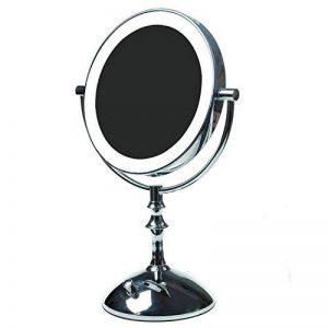 """TUKA 8"""" LED Lumineux Miroir Maquillage, réglable en continu, 10X Grossissant 8 Pouces Miroir mince cosmétique sur pied Assisi, Double Face, À piles ou avec prise française, TKD3136-10x de la marque TUKA image 0 produit"""