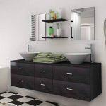 vidaXL Ensemble 7 pièces de mobilier meuble de salle de bain et lavabo vasque Noir de la marque vidaXL image 1 produit