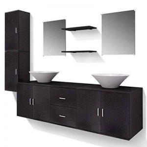 vidaXL Ensemble 9 pièces de mobilier meuble de salle de bain et lavabo vasque Noir de la marque vidaXL image 0 produit