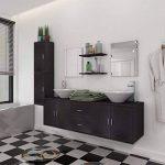 vidaXL Ensemble 9 pièces de mobilier meuble de salle de bain et lavabo vasque Noir de la marque vidaXL image 1 produit