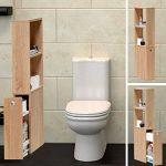 WEBER INDUSTRIES 810260C Contemporain Meuble de Toilettes avec Tiroir de Rangement/2 Niches Bois Chêne Sonoma/Blanc 15 x 35 x 110,5 cm de la marque WEBER INDUSTRIES image 1 produit