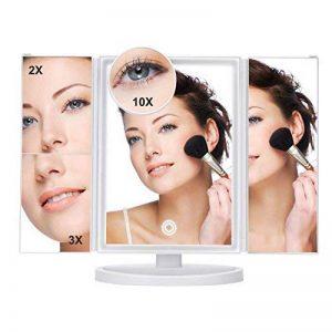 Yiiyaa Miroir Grossissant x 2/ 3/ 10 fois Écran Tactile avec 36 LEDs Lumière Réglable 180° Rotation Miroir sur Pied Pour Makeup Maquillage Cosmétique Beauté Chambre Salle de Bains de la marque yiiyaa image 0 produit