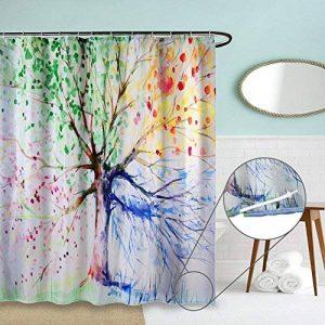 ZSZT Rideau de Douche Tissu Anti Moisissure, 180x200cm Long Imperméable Polyester Textile, Vintage Arbre Coloré Design (Long) de la marque ZSZT image 0 produit